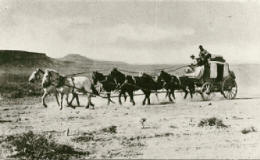 An early stage coach coming into Goldfield from Tonopah. The Malpais and nearby mountains can be seen in the top left of the photo.